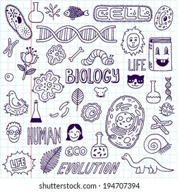 Biology. Hand drawn. Vector illustration. School notebook.