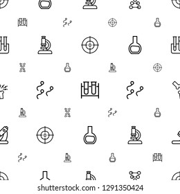 biology icons pattern seamless white background. Included editable outline dna, test tube, microscope, sperm, broken leg or arm icons. biology icons for web and mobile.