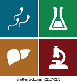 Biology icons set. set of 4 biology filled icons such as liver, sperm, test tube