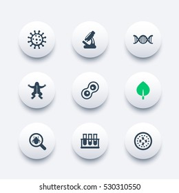 Biology icons set, virus, cell division, microscope, test-tubes, microbe, microorganism