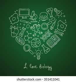 "Biology. Icons in the shape of a heart. The inscription ""I love biology."" Vector illustration on a green background."