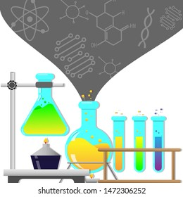 Biology laboratory workspace and science equipment concept. Chemistry laboratoty. Biology science white color background. Vector illustration in flat design. Testing with test tube.