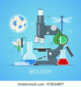 Biology science education concept vector poster in flat style design. Biology school laboratory equipment.