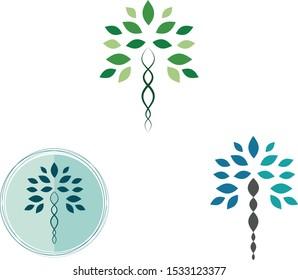 biology science health tree logo vector design