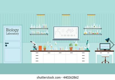 Biology Science lab interior or laboratory room, biology education concept, vector illustration.