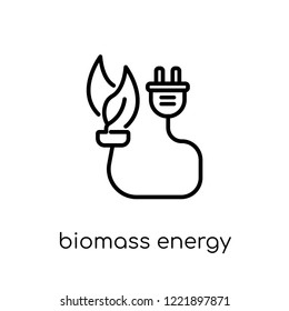 biomass energy icon. Trendy modern flat linear vector biomass energy icon on white background from thin line general collection, editable outline stroke vector illustration