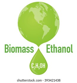 biomass ethanol and earth, vector illustration