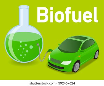 Biomass fuel made by algae, diagram illustration