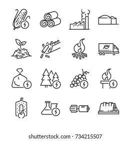 Biomass line icon set. Included the icons as energy, fuel, renewable, turbine, power plant, waste and more.
