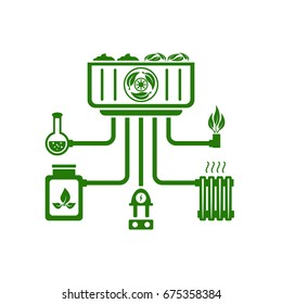 Biomass power. Fuel, gas, warm, electricity, organic fertilizer. Green energy concept. Flat design. Vector illustration on white background.
