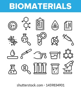 Biomaterials, Medical Analysis Vector Linear Icons Set. Biomaterials Research Outline Cliparts. Chemical Experiment Pictograms Collection. Scientific Laboratory Equipment Thin Line Illustration