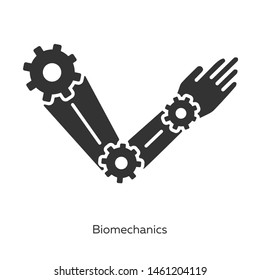 Biomechanics glyph icons set. Studying and copying body movements. Robot arm. Mechanical properties of biological systems. Bioengineering. Silhouette symbols. Vector isolated illustration