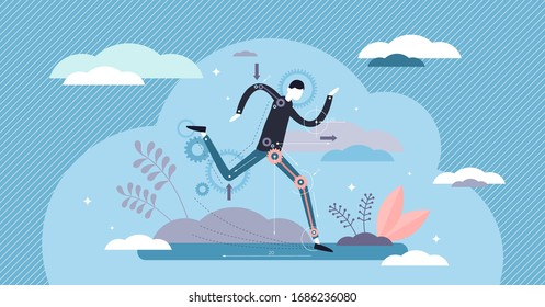 Biomechanics vector illustration. Physical movement research tiny persons concept. Biological human motion from mathematics and physics aspect. Futuristic technical study of angle, force and momentum.