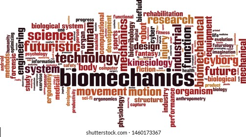 Biomechanics word cloud concept. Collage made of words about biomechanics. Vector illustration