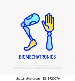 Biomechatronics thin line icon, prothesis of hand and leg for disabled people. Modern vector illustration.