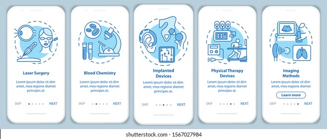Biomedical engineering onboarding mobile app page screen with linear concepts. Blood chemistry. Five walkthrough steps graphic instructions. Laser surgery. UX, UI, GUI vector template, illustrations
