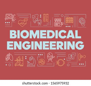 Biomedical engineering word concepts banner. Biotechnology for health. Healthcare development. Presentation, website. Isolated lettering typography idea with linear icons. Vector outline illustration