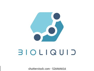 Biomedical graphic logo template, vector illustration on white background. For medicine, bio medicine, chemistry, physics, biomedical engineering, biophysics, biochemistry