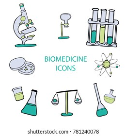 biomedicine icons, microscope, test tube