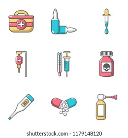 Biomedicine icons set. Cartoon set of 9 biomedicine vector icons for web isolated on white background
