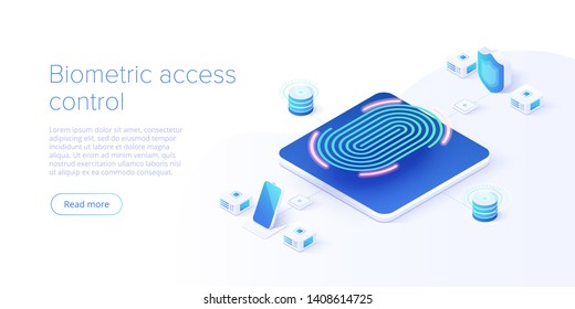 Biometric access control in isometric vector illustration. Fingerprint screening security system concept. Digital touch scan identification or electronic sensor authentication. Web banner layout.