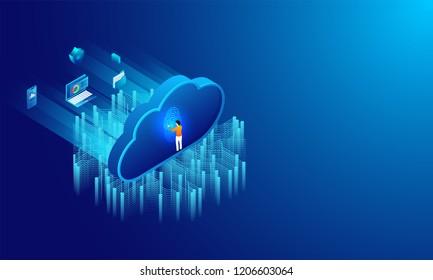 Biometric Authentication concept, essential business equipments, man unlock password through fingerprint scanner, cloud storage data security concept based isometric design.