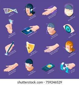 Biometric authentication isometric icons with dna matching, human body parts recognition isolated on purple background vector illustration