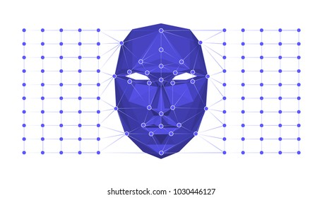 Biometric identification or Facial recognition system concept. Vector illustration.