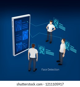 Biometric identification or Facial recognition system concept.