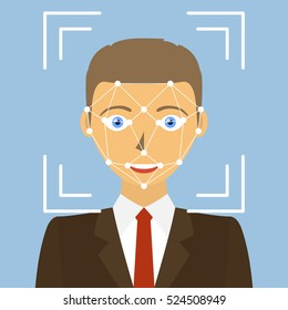 Biometric identification. Facial recognition system concept. Vector illustration