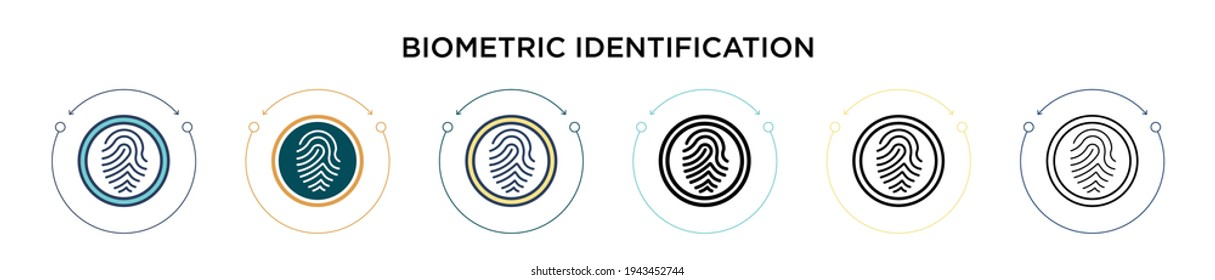 Biometric identification icon in filled, thin line, outline and stroke style. Vector illustration of two colored and black biometric identification vector icons designs can be used for mobile, ui,