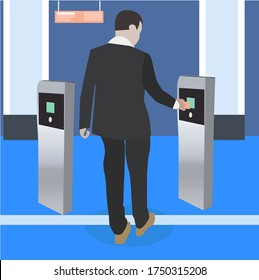 Biometric identification illustration concept using rf id technology . Security access control solution