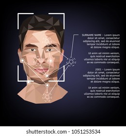 Biometric identification on face, in the style of low poly. Vector illustration.