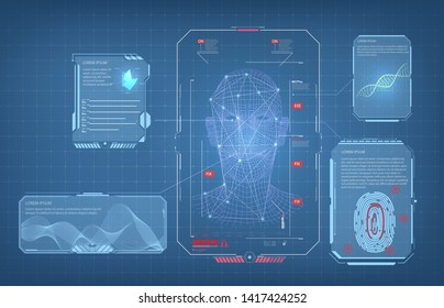Biometric Identification or Recognition System of Person. The facial recognition technology Fingerprint, Voice.Recognition System Concept (Authentication). Set HUD GUI UI Elements. Vector