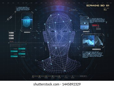 Biometric Identification or Recognition System of Person. The facial recognition technology Fingerprint, Voice. Recognition System Concept (Authentication). Set HUD, GUI, UI, 3D Elements. Vector