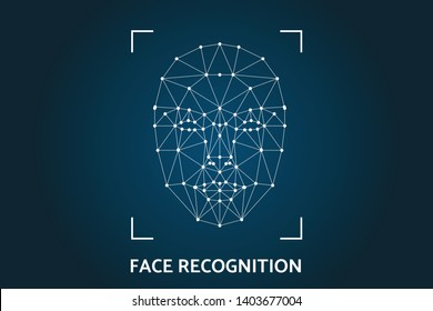 biometric identification scanning grid for face recognition and unlock system on futurustic blue background artificial intelligence concept