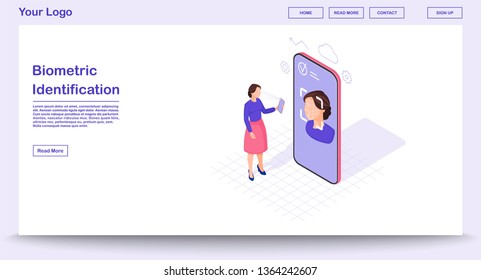 Biometric identification webpage vector template with isometric illustration. Identity verification. Facial ID scanning. Faceprint analysis. Website interface design. Webpage, mobile app 3d concept