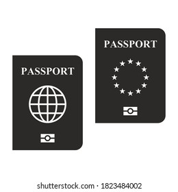 Biometric passport icon set. Travel document. Dual citizen. Multiple citizenship. Dual nationality. Vector icon isolated on white background.