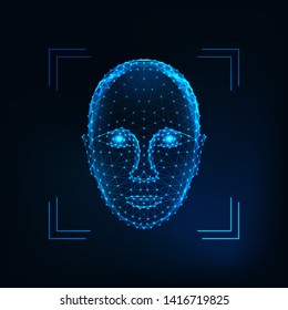 Biometric person  identification, facial  recognition concept. Futuristic low polygonal human face made of lines, dots, stars, triangles isolated on dark blue background. Vector illustration.