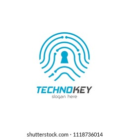 Biometric technology logo design emblem template. Modern fingerprint safety system to identify vector illustration on white background