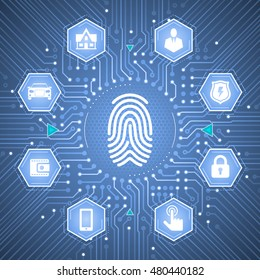 Biometric Verification. Illustration / infographical template on the subject of Cybersecurity