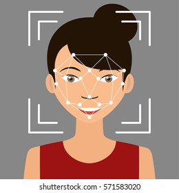 Biometrical identification. Facial recognition system concept. Asian woman. Vector illustration