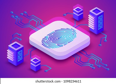 Biometrics blockchain technology vector illustration of digital fingerprint security for cryptocurrency concept. Data communication server and secure access scanner on purple ultraviolet background