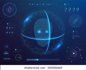 Biometrics digital face scanning, facial recognition software with hud interface, charts, diagram and dna detection data vector concept. Illustration of scan face system, sensor smart biometric