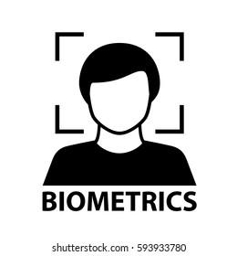 biometrics face recognition black symbol vector