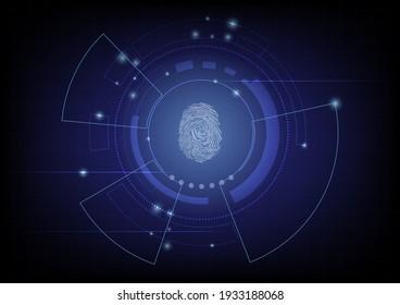 Biometrics hi-tech technology with fingerprint scanning background. Business Security Concept. vector illustration.