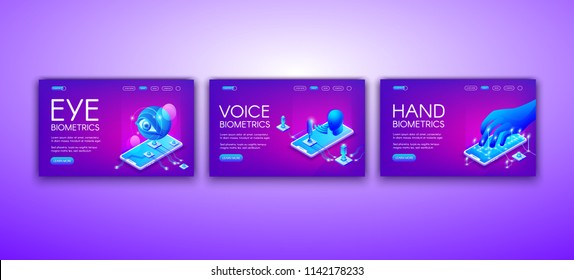 Biometrics technology vector illustration of eye, voice and hand recognition for identity authentication. Retina scanner, sound and touch identification technology on purple ultraviolet background
