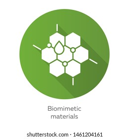 Biomimetic materials green flat design long shadow glyph icon. Copying natural formation. Biological materials structure. Honeycomb, water drop. Bioengineering. Vector silhouette illustration