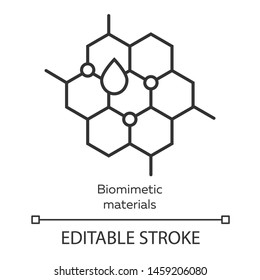 Biomimetic materials linear icon. Copying natural formation by human. Honeycomb, water drop. Bioengineering. Thin line illustration. Contour symbol. Vector isolated outline drawing. Editable stroke