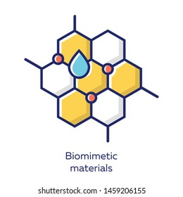 Biomimetic materials yellow color icon. Copying natural formation by human. Biological materials structure for imitate study. Honeycomb, water drop. Bioengineering. Isolated vector illustration
